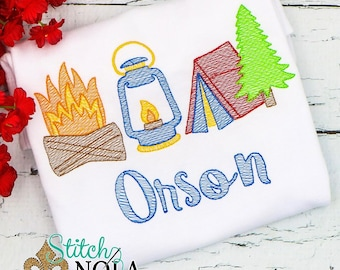 Camping Sketch Embroidery, Camping Shirt, Camping Trio