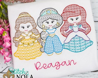 Princess Trio Embroidery, Motif Princess Trio, Magical Princess Trio