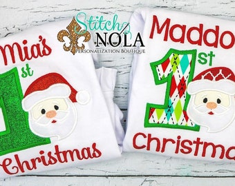 Baby's first Christmas, first Christmas appliqué, Santa appliqué, Christmas shirt, first Christmas T-Shirt, Romper or Bodysuit