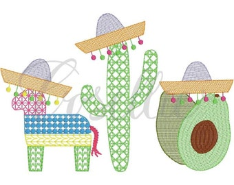 Fiesta Trio Sketch Embroidery, Cinco de Mayo Sketch Trio, Fiesta Shirt, Cinco de Mayo Shirt, Pinata, Cactus, Avocado, Sombrero