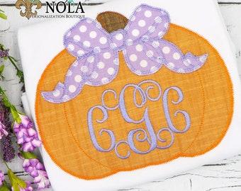 Pumpkin with Bow Monogram Applique, Pumpkin Applique, Girl Pumpkin Applique, Fall Applique, Pumpkin Patch Outfit