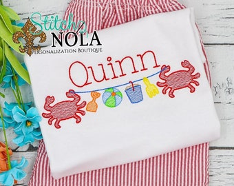 Beach Crab with Buckets on a String Sketch Embroidery Monogram Top and Shorts Set, Beach Outfit, Monogrammed Beach Set