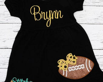 Football Dress, Football with Bow Applique, Glitter Football Dress