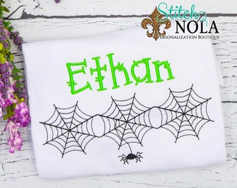 Spider Web Sketch Shirt, Personalized Halloween Shirt, Boys Halloween Tee
