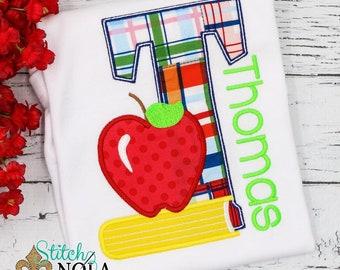 Apple Alpha Applique, Apple Alpha Shirt, Back to School Shirt, Back to School Applique, Apple Applique, Apple Shirt, Back to School Applique
