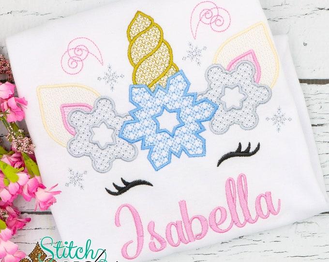 Featured listing image: Unicorn Snowflake Motif Embroidery, Winter Unicorn Embroidery, Unicorn Shirt, Snowflake Shirt