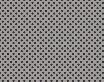 Small Dot Tone On Tone Black On Gray Fabric, Riley Blake, 100% Cotton Black Polka Dots