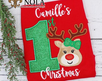 First Christmas with Reindeer Applique, Boy Reindeer Applique, Girl Reindeer Applique, 1st Xmas, Christmas Applique, Xmas Shirt, XMAS Pics