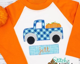 Pumpkin Truck with Name Box Applique, Pumpkin Applique, Boy Pumpkin Applique, Fall Applique, Truck Applique