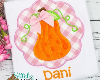 Pumpkin Appliqué, Scallop Pumpkin Appliqué, Girl Pumpkin Appliqué, Fall Appliqué, Pumpkin Shirt