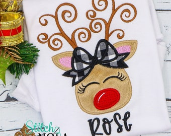 Christmas Girl Reindeer Applique, Reindeer With Plaid Bow, Personalized Christmas Shirt, Holiday Shirt, Xmas