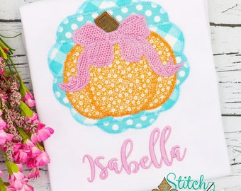 Scallop Patchwork Pumpkin with Bow Applique, Pumpkin Applique, Girl Pumpkin Applique, Fall Applique, Pumpkin Patch Outfit