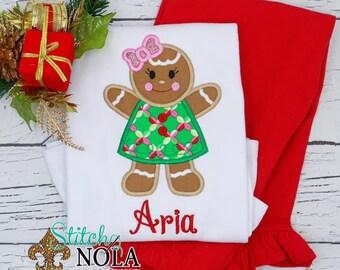 Gingerbread Girl Applique Top And Bottom Set, Christmas Appliqué, Xmas Outfit, Christmas Outfit