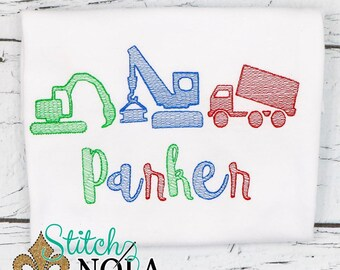 Construction Vehicles Sketch Embroidery, Construction Trio