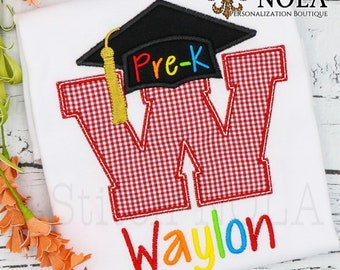 Graduation Alpha Applique, Graduation Applique, Pre-School Graduation, Kindergarten Graduation, School Applique