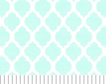 Aqua Mini Quatrefoil Fabric, Fabric Finders,100 percent cotton, Aqua Quatrefoil