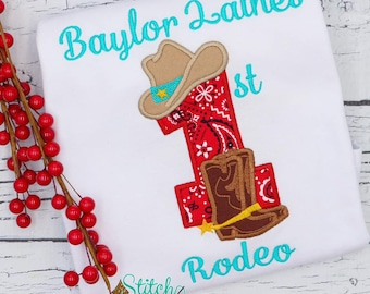 Cowgirl Birthday Applique, 1st Birthday Shirt, Cowboy Boots And Hat Applique, Country Birthday Number Shirt