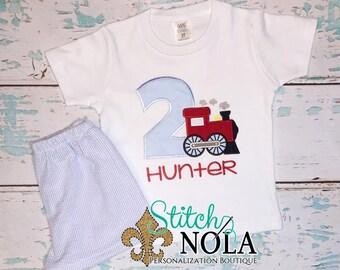 Train Birthday Shirt & Seersucker Short Set, Train Applique, Train Birthday Shirt, Train Shirt, Boy Birthday Set