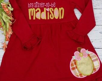 Pumpkin with Bow Applique, Sister Dress, Pumpkin Patch Dress, Pumpkin Dress