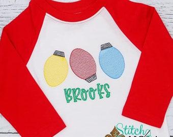 Vintage Christmas Lights Sketch, Christmas Embroidered Shirt, Vintage Christmas Light Bulbs , Holiday Shirt