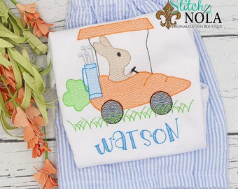 Bunny in Carrot Golf Cart Top And Bottom Set, Easter Sketch Embroidery, Boy Golf Shirt, Spring Embroidery, Easter Outfit, Boy Easter Outfit