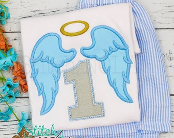 Angel Wings with Halo Birthday Applique Shorts Set, Angel Wings Shirt and Shorts, Angel Applique