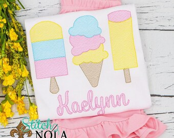 Ice Cream Trio Sketch Embroidery Shirt and Shorts Set, Girl Ice Cream Outfit, Popsicle Trio