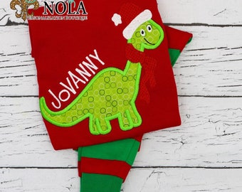 Santa Dinosaur Applique Red & Green Christmas Pajamas, Santa Dino Applique Polar Express Pajamas, XMAS Pajamas, Christmas Applique