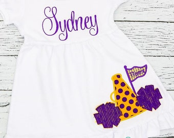 Purple and Gold Megaphone Pom-Pom Dress