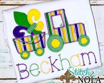 Fleur de Tractor, Mardi Gras Tractor with Fleur de Lis Applique, Mardi Gras Applique, boy Mardi Gras Shirt