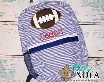 Seersucker Backpack with Football, Seersucker Diaper Bag, Seersucker School Bag, Seersucker Bag, Diaper Bag, School Bag, Book Bag, Backpack