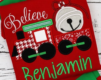 Believe Train Applique, XMAS Train, Applique, Christmas Bell, Golden Ticket, Hot Chocolate, Christmas Applique, Christmas Shirt, XMAS Pics