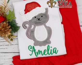 Christmas Cat Applique Top And Bottom Set, Cat with Santa Hat Applique, Christmas Kitten Applique, XMAS Pictures Outfit