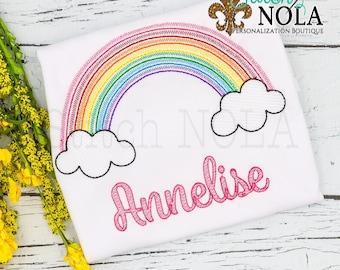 Rainbow Sketch Embroidery, Rainbow Shirt, Vintage Rainbow