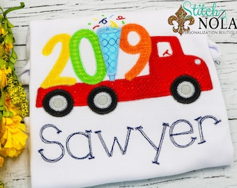 New Year Applique, New Year Truck Applique, New Years Eve Applique, New Year