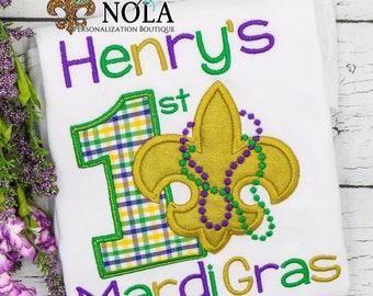 First Mardi Gras Applique, Baby's 1st Mardi Gras, Mardi Gras Fleur de lis Applique, Fleur de lis Applique , Mardi Gras Applique,