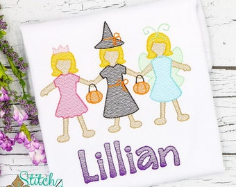 Halloween Paper Dolls in Costume, Trick or Treat, Halloween Sketch Embroidery, Halloween Costume, Witch, Super Hero, Pirate, Princess