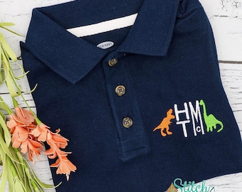 Dinosaur Monogrammed Collared Shirt