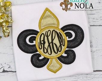 Gliiter Fleur De Lis, Applique Fleur De Lis, Black and Gold Fleur De Lis, Monogram Fleur De Lis