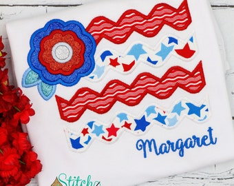 American Flag with Flower Applique, American Flag, Patriotic  Applique, Red White and Blue Applique, America Applique, Memorial Day, Fourth