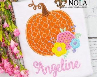 Floral Pumpkin Appliqué Shirt, Girls Fall Shirt, Girls Pumpkin Tee