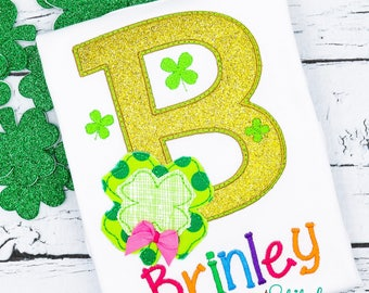 St. Patrick's Day shirt, shamrock alpha appliqué, clover alpha appliqué, girl St. Patrick's Day, boy St. Patrick's Day, St. Patrick's Day ap