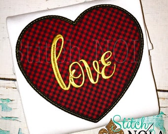 Plaid Love Heart Applique, Heart Applique, Valentine's Day Shirt, Girls Valentine's Shirt, Buffalo Plaid Heart Applique, Heart Shirt