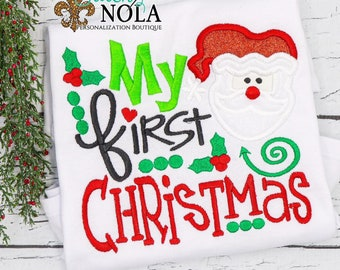 First Christmas Embroidery Saying, Santa Design Christmas Embroidery, First Christmas Applique, Embroidery Design
