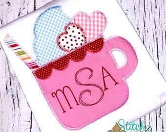 Sweetie Pie Sipper Applique Design, Hearts Applique, Heart Applique, Valentine's Day Applique, Valentine's Day Shirt