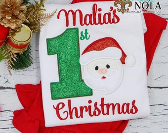 1st Christmas With Santa Top And Bottom Set, Santa Claus Applique, First Christmas Applique, Christmas Outfit