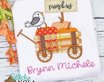 Pumpkin Wagon Appliqué, Wagon Appliqué with Bird, Pumpkin Appliqué, Fall Appliqué, Pumpkin Shirt