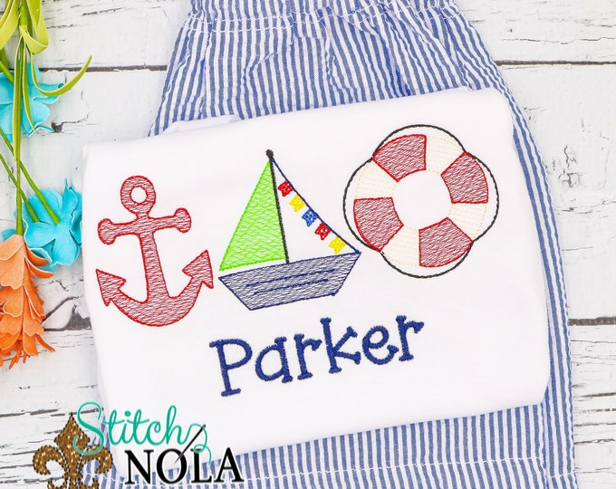 Featured listing image: Nautical Sketch Embroidery Top and Shorts Set, Beach Monogrammed Shirt, Beach outfit