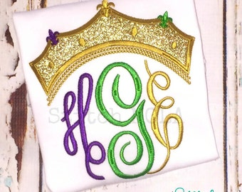 Mardi Gras Crown Monogram Applique, Mardi Gras Shirt, Gown or Bodysuit, Queen Crown, Queen Monogram, Crown Monogram, Mardi Gras Monogram