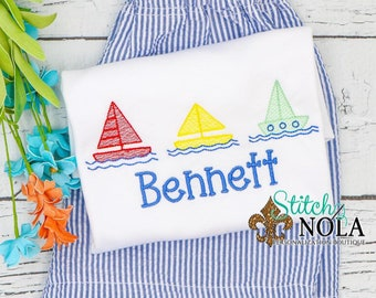 Sailboat Trio Sketch Embroidery Monogram Top and Shorts Set, Beach Outfit, Monogrammed Beach Set